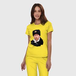Пижама хлопковая женская Путин военный цвета желтый — фото 2