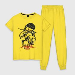 Пижама хлопковая женская Chelsea Grin: Demon Girl цвета желтый — фото 1