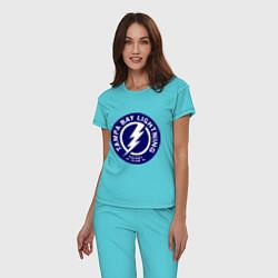 Пижама хлопковая женская HC Tampa Bay Lightning цвета бирюзовый — фото 2