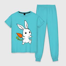 Пижама хлопковая женская Зайка с морковкой цвета бирюзовый — фото 1