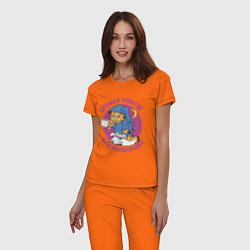 Пижама хлопковая женская Дружба- понятие круглосуточное цвета оранжевый — фото 2