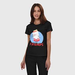 Пижама хлопковая женская Молоко цвета черный — фото 2