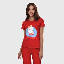 Пижама хлопковая женская Молоко цвета красный — фото 2