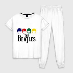 Пижама хлопковая женская The Beatles Heads цвета белый — фото 1