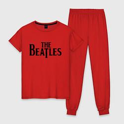 Пижама хлопковая женская The Beatles цвета красный — фото 1