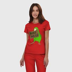 Пижама хлопковая женская Bird Nerd цвета красный — фото 2