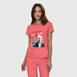 Пижама хлопковая женская Make love, not war цвета коралловый — фото 2