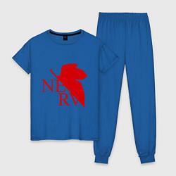 Пижама хлопковая женская Евангелион NERV цвета синий — фото 1