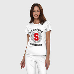 Пижама хлопковая женская Stanford University цвета белый — фото 2