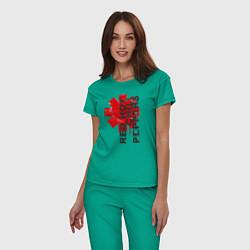 Пижама хлопковая женская Red Hot Chili Peppers цвета зеленый — фото 2
