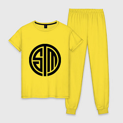 Пижама хлопковая женская SoloMid цвета желтый — фото 1