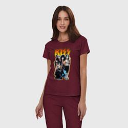 Пижама хлопковая женская Kiss Group цвета меланж-бордовый — фото 2