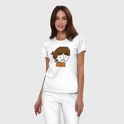 Пижама хлопковая женская George Harrison Boy цвета белый — фото 2