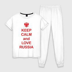 Пижама хлопковая женская Keep Calm & Love Russia цвета белый — фото 1