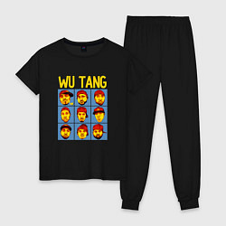 Пижама хлопковая женская Wu-Tang Clan Faces цвета черный — фото 1