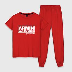 Пижама хлопковая женская Armin van Buuren цвета красный — фото 1