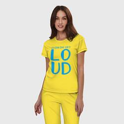 Пижама хлопковая женская Thinking Out: Loud цвета желтый — фото 2