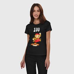 Пижама хлопковая женская Mario: 100 coins цвета черный — фото 2