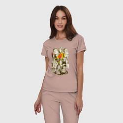 Пижама хлопковая женская Герои Тарантино цвета пыльно-розовый — фото 2