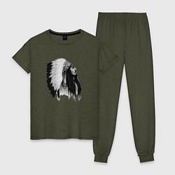 Пижама хлопковая женская Джонни Депп цвета меланж-хаки — фото 1