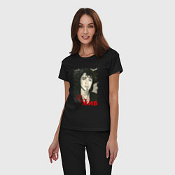 Пижама хлопковая женская Цой жив цвета черный — фото 2