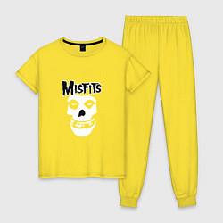 Пижама хлопковая женская Отбросы цвета желтый — фото 1