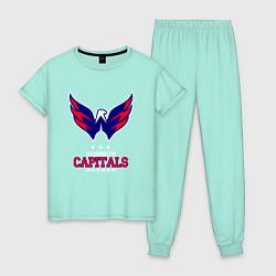 Пижама хлопковая женская Washington Capitals цвета мятный — фото 1