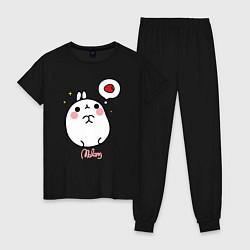 Пижама хлопковая женская Кролик Моланг с клубникой цвета черный — фото 1