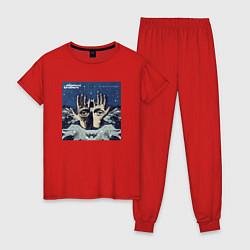 Пижама хлопковая женская Chemical Brothers: The night цвета красный — фото 1