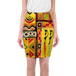 Юбка-карандаш женская Африка цвета 3D — фото 1