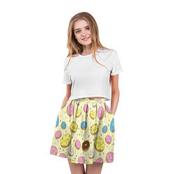Юбка-солнце 3D женская Сладкие пончики цвета 3D — фото 2