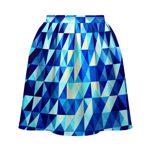 Женская юбка Синяя геометрия / 3D – фото 2
