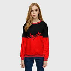 Свитшот женский АлисА: Черный & Красный цвета 3D-красный — фото 2