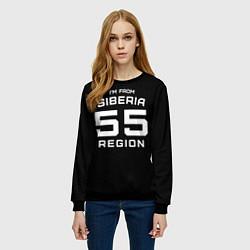 Свитшот женский Im from Siberia: 55 Region цвета 3D-черный — фото 2