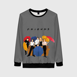 Свитшот женский Friends with Umbrellas цвета 3D-черный — фото 1