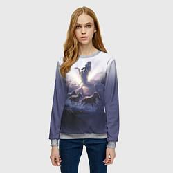 Свитшот женский Небесные лошади цвета 3D-меланж — фото 2
