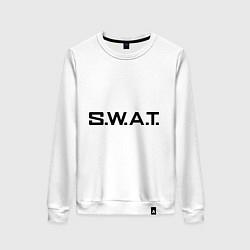 Свитшот хлопковый женский S.W.A.T цвета белый — фото 1