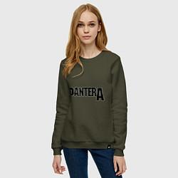Свитшот хлопковый женский Pantera цвета хаки — фото 2