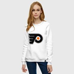 Свитшот хлопковый женский Philadelphia Flyers цвета белый — фото 2