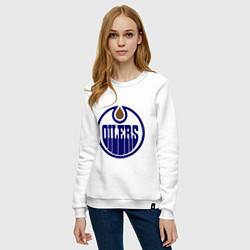 Свитшот хлопковый женский Edmonton Oilers цвета белый — фото 2