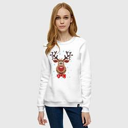 Свитшот хлопковый женский Рождественский олень цвета белый — фото 2