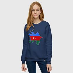 Свитшот хлопковый женский Azerbaijan map цвета тёмно-синий — фото 2