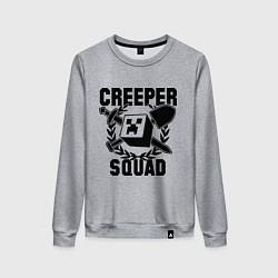 Свитшот хлопковый женский Creeper Squad цвета меланж — фото 1