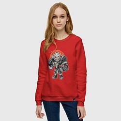 Свитшот хлопковый женский Райнхардт цвета красный — фото 2