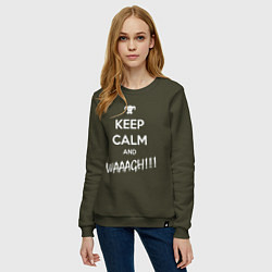 Женский хлопковый свитшот с принтом Keep Calm & WAAAGH, цвет: хаки, артикул: 10145913905317 — фото 2