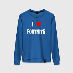 Свитшот хлопковый женский I love Fortnite цвета синий — фото 1