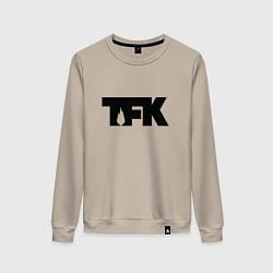 Свитшот хлопковый женский TFK: Black Logo цвета миндальный — фото 1