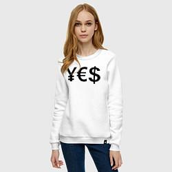 Свитшот хлопковый женский YE$ цвета белый — фото 2