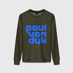 Свитшот хлопковый женский Paul van Dyk: Filled цвета хаки — фото 1