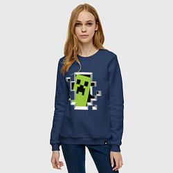 Свитшот хлопковый женский Crash Minecraft цвета тёмно-синий — фото 2